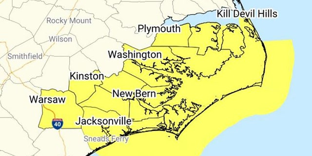 A tornado watch has been issued for parts of North Carolina until 8 a.m. on Tuesday, according to the National Weather Service.