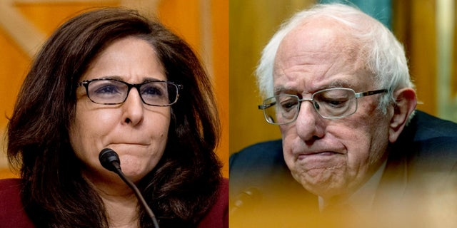 A split image of Neera Tanden, President Joe Biden's nominee for Director of the Office of Management and Budget, and Sen. Bernie Sanders, I-Vt., chairman of the Senate Committee on the Budget, during a hearing on Capitol Hill Wednesday, Feb. 10, 2021. (AP Photo/Andrew Harnik, Pool)