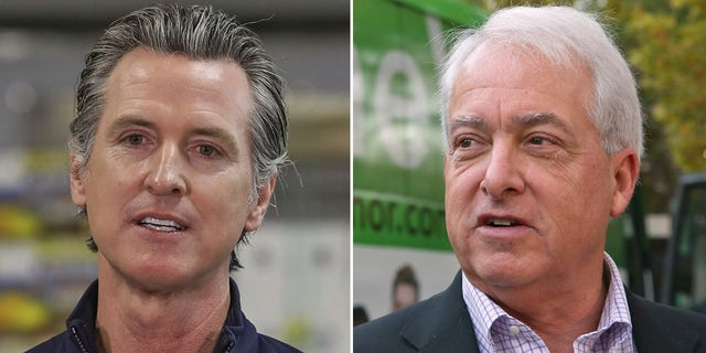 Republican businessman John Cox, right, criticized Democrat Gov. Gavin Newsom's response to the coronavirus. (Getty Images/AP)