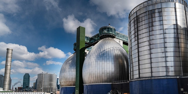 Department of Environmental Protection digester eggs stand at the Newtown Creek Wastewater Resource Recovery Facility Brooklyn.