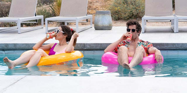 Andy Samberg (right) received a Golden Globe nomination for his work in Hulu's 'Palm Springs,' which was also nominated for best motion picture - musical or comedy. (Photo by: Jessica Perez/Hulu)