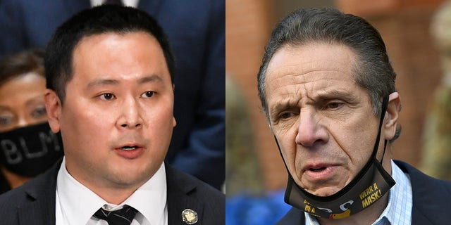Ron Kim and Andrew Cuomo (AP/ Reuters)
