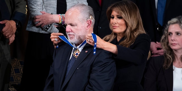First lady Melania Trump awarding Rush Limbaugh the Presidential Medal of Freedom during President Trump's State of the Union address in February 2020.