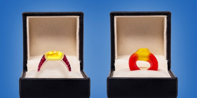 The candy-inspired ring (left) from London-based jeweler Taylor & Hart costs $34,300.