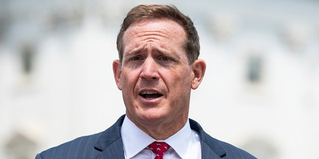 UNITED STATES - JUNE 25: Rep. Ted Budd, R-N.C., does a television news interview outside the Capitol before the vote on the George Floyd Justice in Policing Act of 2020 on Thursday, June 25, 2020. (Photo By Bill Clark/CQ-Roll Call, Inc via Getty Images)