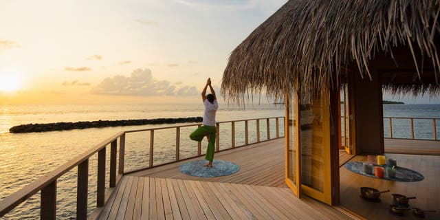 Nautilus Maldives has scheduled daily yoga, fitness, and meditation classes that are available free with private island purchases.  (The Maldives Nautilus)
