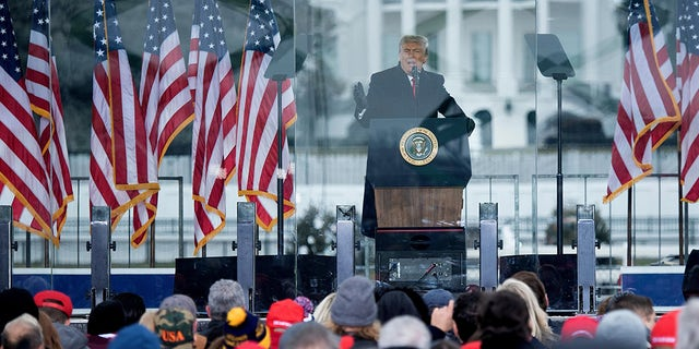Former US President Donald Trump speaks to supporters from The Ellipse near the White House on January 6, 2021, in Washington, DC. - Thousands of Trump supporters, fueled by his spurious claims of voter fraud, are flooded the nation's capital protesting the certification of Joe Biden's White House victory by the US Congress. (Photo by Brendan Smialowski / AFP) (Photo by BRENDAN SMIALOWSKI/AFP via Getty Images)