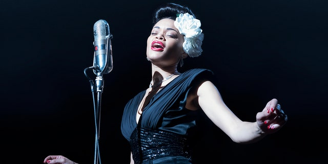 Andra Day stars as Billie Holiday in 'The United States vs. Billie Holiday' on Hulu and received a Golden Globe for her performance. (Takashi Seida/Hulu)