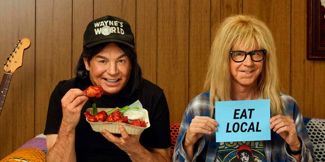 'Wayne's World' stars Mike Myers and Dana Carvey reprise their roles for the Uber Eats 2021 Super Bowl NFL football spot. (Uber Eats via AP)