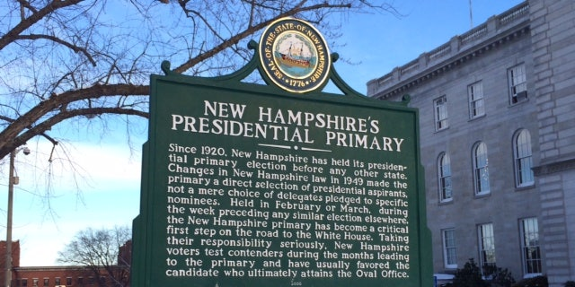 New Hampshire has held the first-in-the-nation presidential primary for a century. A sign outside the state capitol in Concord, NH marks the state's treasured primary status.