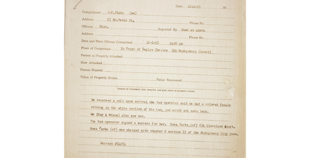 The original police report from the Dec. 1, 1955 arrest of Rosa Parks when she refused to give up her bus seat to a white man