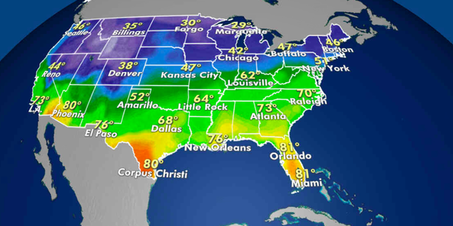 Expected high temperatures for Wednesday. (Fox News)