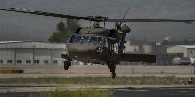 A UH-60M Black Hawk helicopter arrives at Gowen Field Air National Guard Base in Boise, Idaho, in June 2020. One of the Idaho National Guard's Black Hawk helicopters crashed Tuesday night, killing three pilots onboard, officials say. (Photo by Thomas Alvarez/Idaho Army National Guard)
