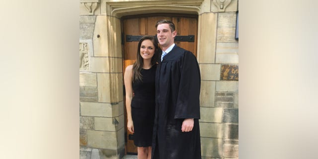 North Carolina congressional candidate Bo Hines at his Yale University graduation with fiancee Mary Charles Bryson. (Photo courtesy of the Hines campaign)