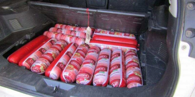 Contraband bologna found in a car at the border.