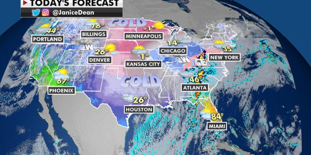 Prognoza națională pentru luni, 15 februarie (Fox News)