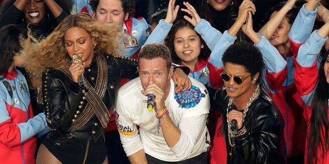 Coldplay, Beyonce and Bruno Mars performed the Super Bowl 50 halftime show in 2016.