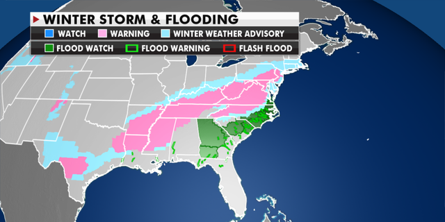 Current winter weather warnings and advisories in effect. (Fox News)