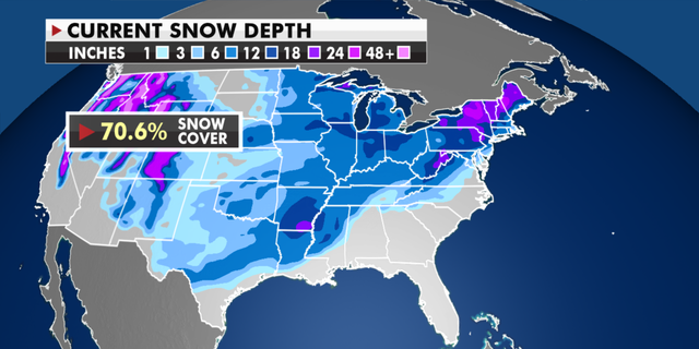 Current snow depth totals around the U.S. (Fox News)