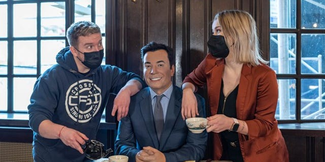 Jimmy Fallon's wax figure has a seat at the table at Peter Luger in Brooklyn.(Madame Tussauds)