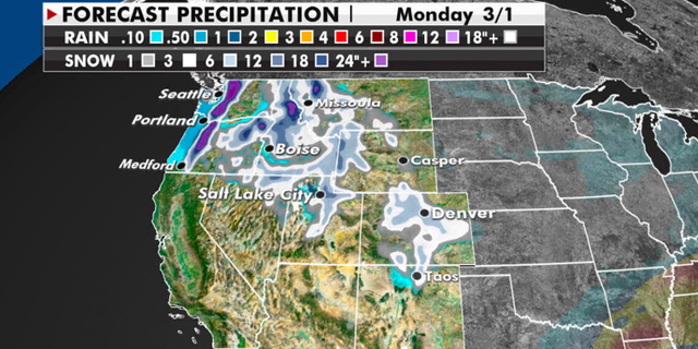 Expected precipitation totals for the Pacific Northwest in the days ahead. (Fox News)