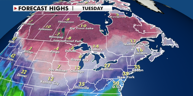 Forecast high temperatures for next week. (Fox News)