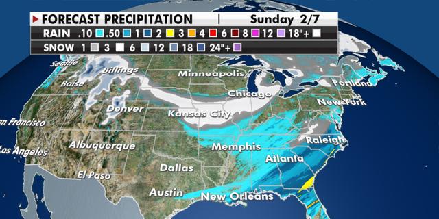 Expected precipitation totals through Sunday. (Fox News)