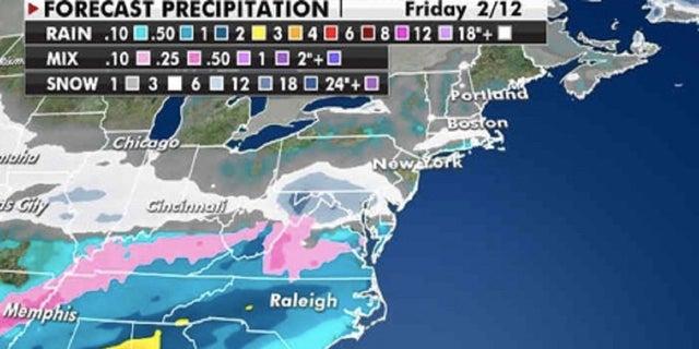 Estimated precipitation totals through Friday. (Fox News)