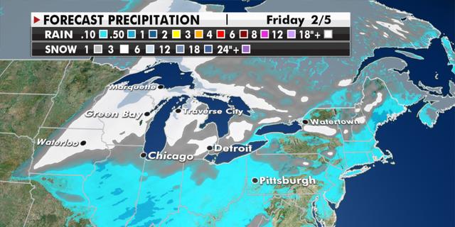 Expected precipitation totals through Friday. (Fox News)
