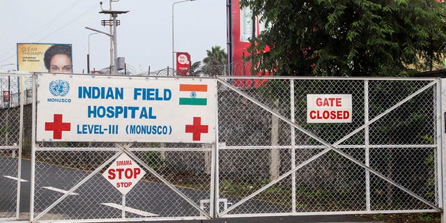 The gate of the United Nations hospital where the Italian ambassador to Congo was taken. (AP Photo/Justin Kabumba)