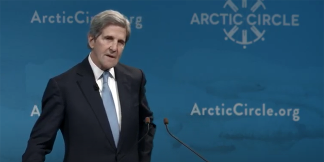 John Kerry speaking at the ceremony in 2019.