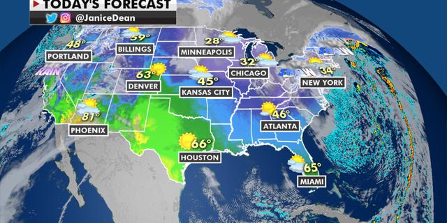 A previsão nacional para terça-feira, 2 de fevereiro. (Fox News)
