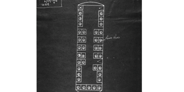 This outline of the bus was used during the trial. Parks was convicted under city law, but while her case was being appealed, a district court ruled that bus segregation was unconstitutional.