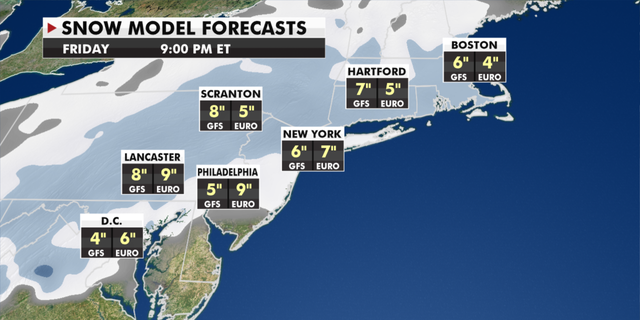 Expected snowfall totals for the Northeast through Friday. (Fox News)