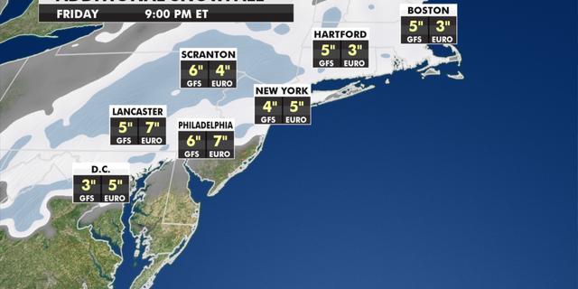 Expected snowfall totals through Friday. (Fox News)