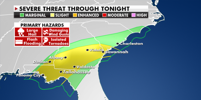 Severe weather hazards in the Southeast through Thursday. (폭스 뉴스)