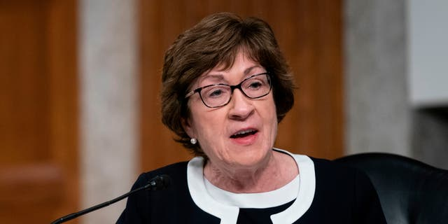 Senator Susan Collins (R-ME), speaks during a US Senate Health, Education, Labor, and Pensions Committee hearing to examine covid-19, focusing on an update on the federal response in Washington, DC, on September 23, 2020. (Photo by ALEX EDELMAN/POOL/AFP via Getty Images)