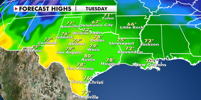 Expected high temperatures in Texas Tuesday. (Fox News)