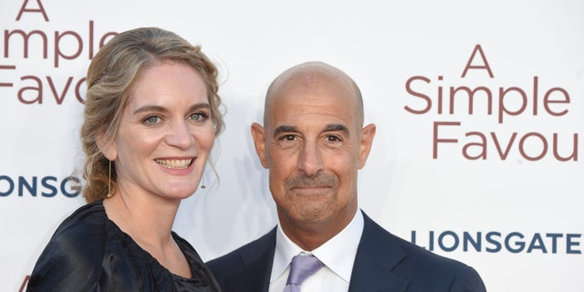 Stanley Tucci poses with his wife Felicity Blunt in 2018. They married in 2012.