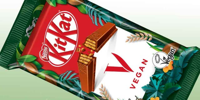 Nestle's new vegan KitKat, called KitKat V, is certified vegan and made from 100% sustainable cocoa. (Nestle)