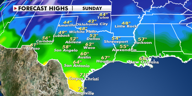 Expected temperatures this weekend. (Fox News)