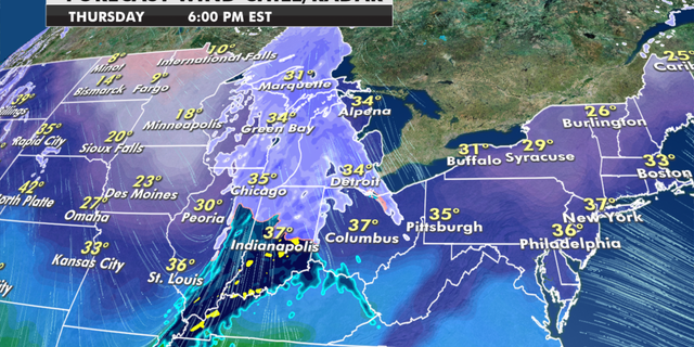 Wind chill conditions for Thursday. (Fox News)