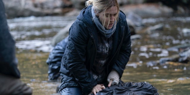"""This image released by HBO shows Kate Winslet in a scene from """"Mare of Easttown,"""" debuting on April 18."""
