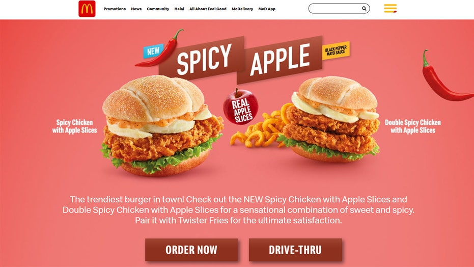 McDonald's Malaysia debuts 'Spicy Apple' chicken sandwich, with apple slices on it, because why not