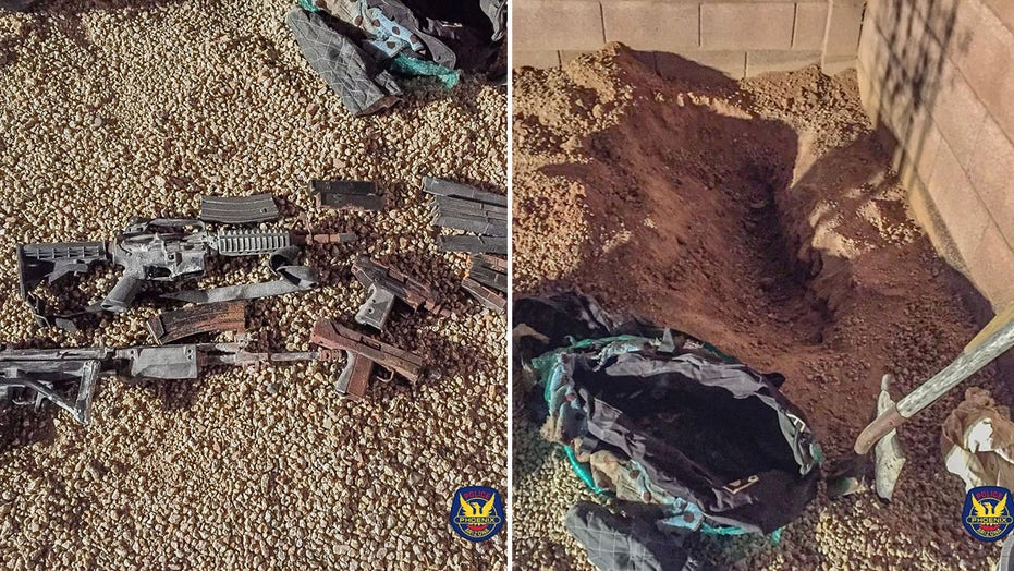 Arizona homeowners planting tree in backyard find buried duffel bag filled with guns: police