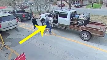 Chick-fil-A customer door-checks suspect fleeing police in drive-thru, surveillance video shows