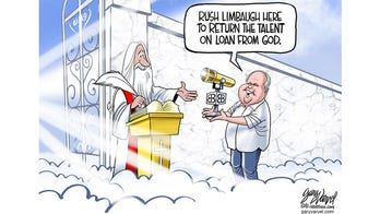 Political cartoon of the day: Rush Limbaugh at the Pearly gates