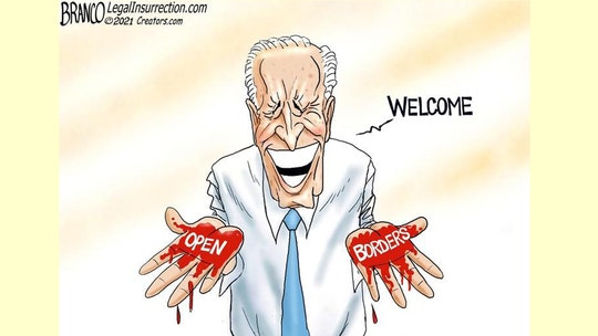 Political cartoon of the day:  Migrant's blood on Biden's hands