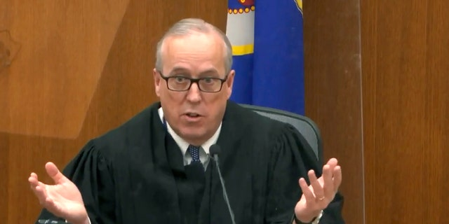 In this image taken from video, Hennepin County Judge PeterCahill speaks during pretrial motions, prior to continuing jury selection in the trial of former Minneapolis police officer Derek Chauvin, Thursday, March 11, 2021, at the Hennepin County Courthouse in Minneapolis, Minn. Chauvin is accused in the May 25, 2020, death of George Floyd. (Court TV/ Pool via AP)