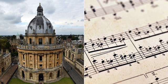 The University of Oxford, juxtaposed with music notation.